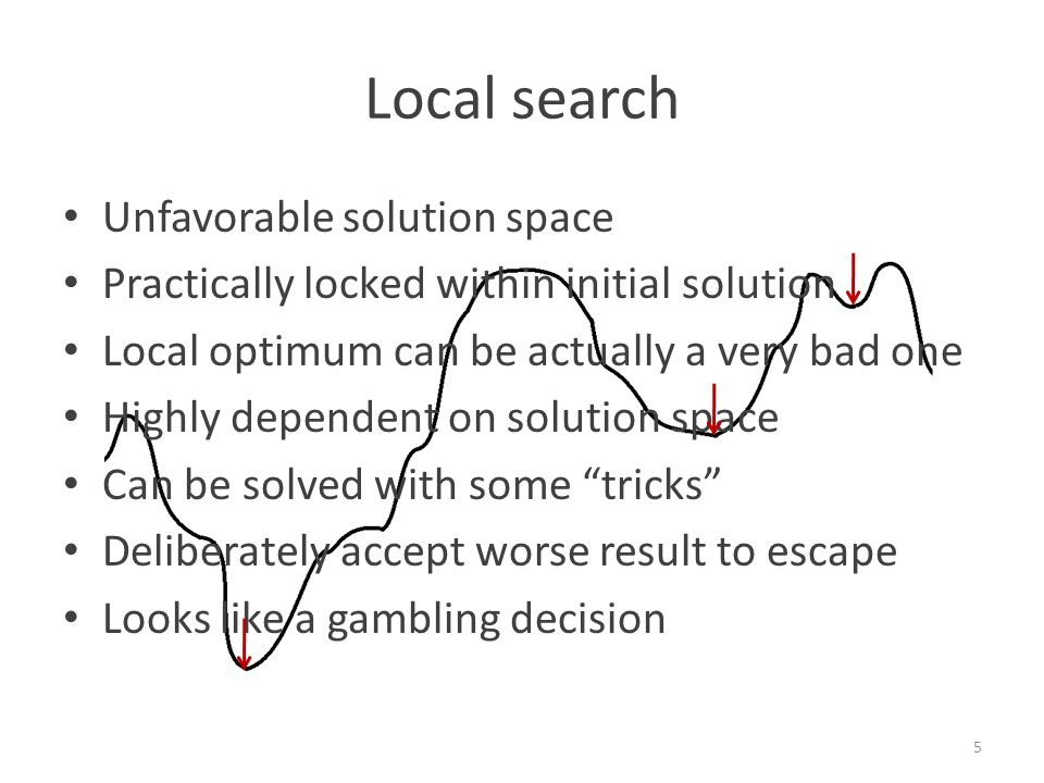 Local search Unfavorable solution space Practically locked within initial solution Local optimum can be actually a very bad one Highly dependent on solution space Can be solved with some tricks Deliberately accept worse result to escape Looks like a gambling decision 5