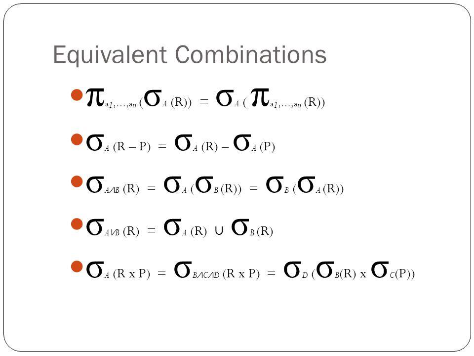 Equivalent Combinations π a 1,…,a n ( σ A (R)) = σ A ( π a 1,…,a n (R)) σ A (R – P) = σ A (R) – σ A (P) σ A ∧ B (R) = σ A ( σ B (R)) = σ B ( σ A (R)) σ A ∨ B (R) = σ A (R) ∪ σ B (R) σ A (R x P) = σ B ∧ C ∧ D (R x P) = σ D ( σ B (R) x σ C (P))