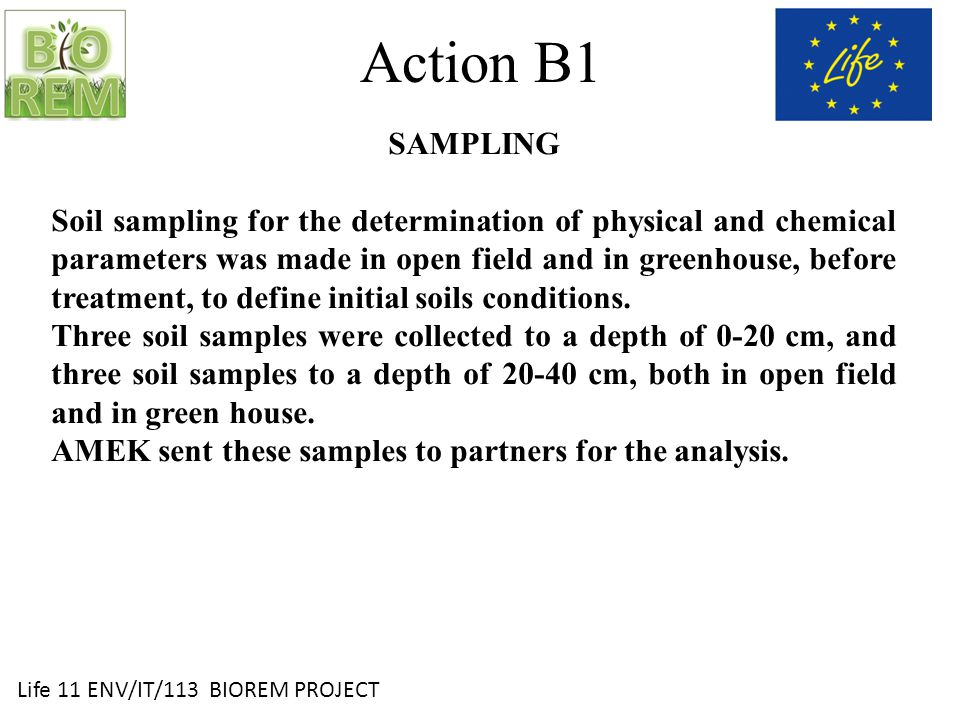 Life 11 ENV/IT/113 BIOREM PROJECT Action B1 SAMPLING Soil sampling for the determination of physical and chemical parameters was made in open field and in greenhouse, before treatment, to define initial soils conditions.