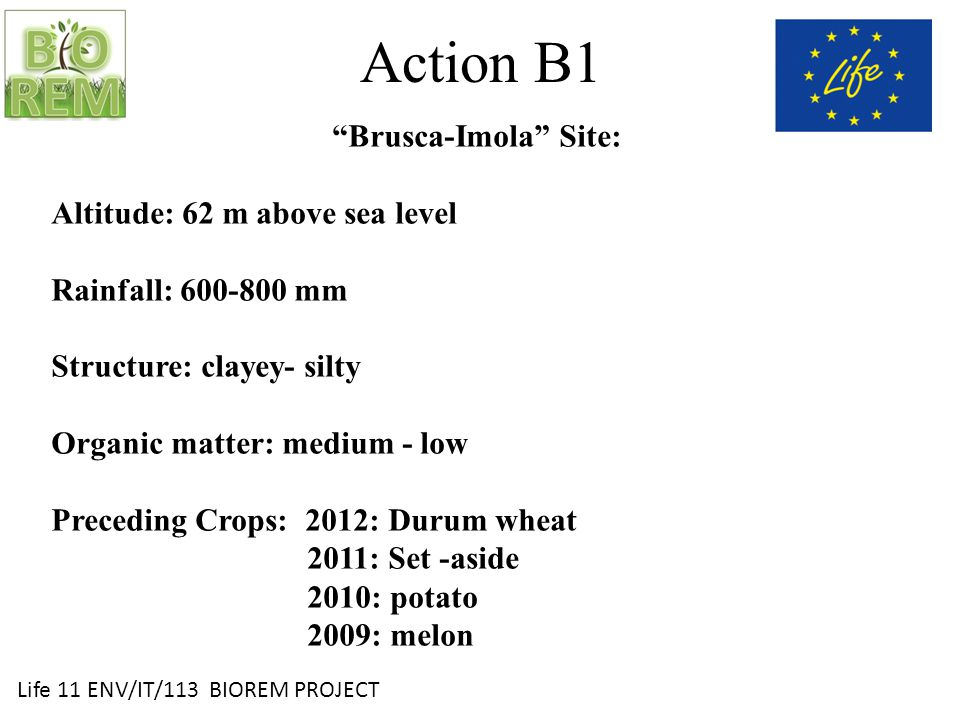 Life 11 ENV/IT/113 BIOREM PROJECT Action B1 Brusca-Imola Site: Altitude: 62 m above sea level Rainfall: 600-800 mm Structure: clayey- silty Organic matter: medium - low Preceding Crops: 2012: Durum wheat 2011: Set -aside 2010: potato 2009: melon