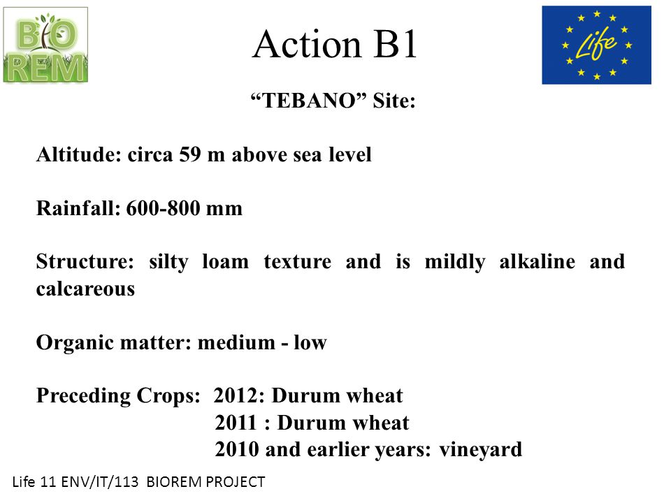 Life 11 ENV/IT/113 BIOREM PROJECT Action B1 TEBANO Site: This area is characterized by a low content of clay along the profile, that on one hand can increase the risk of crusts formation, especially if there is a low organic matter content, on the other hand it reduces the precautions to adopt for the soil processing.