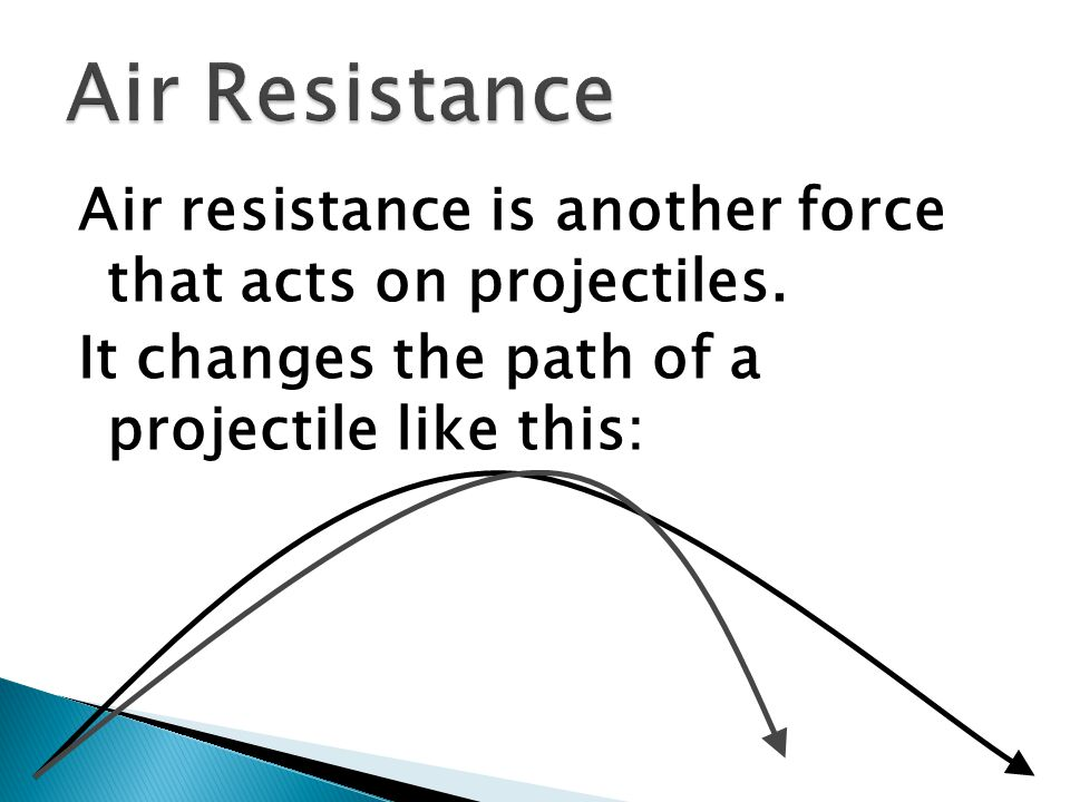 Air resistance is another force that acts on projectiles. It changes the path of a projectile like this:
