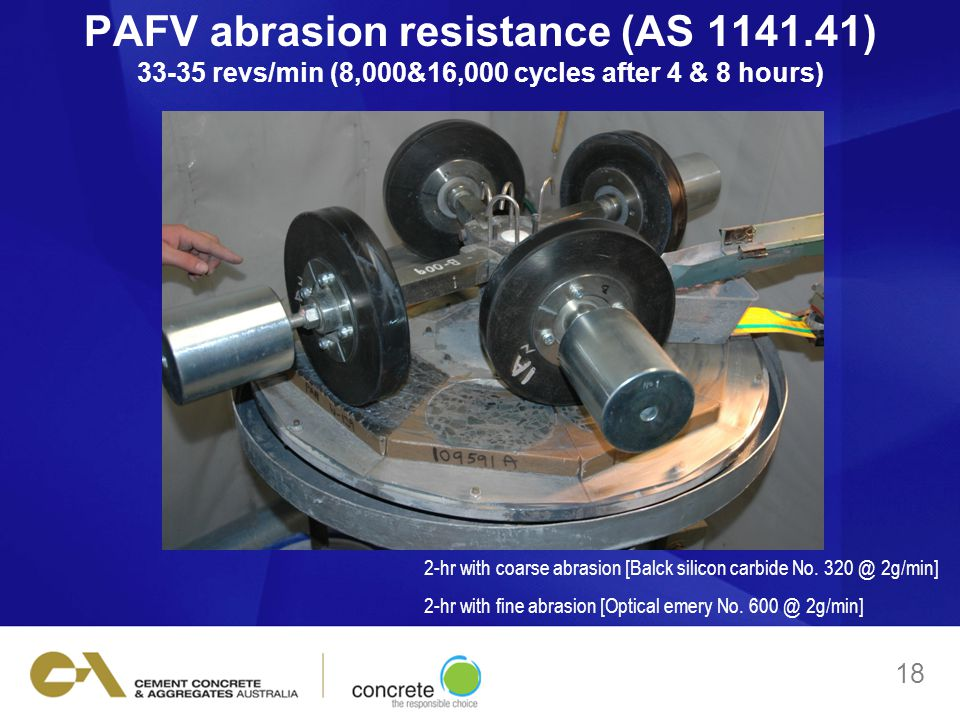 PAFV abrasion resistance (AS 1141.41) 33-35 revs/min (8,000&16,000 cycles after 4 & 8 hours) 18 2-hr with coarse abrasion [Balck silicon carbide No.