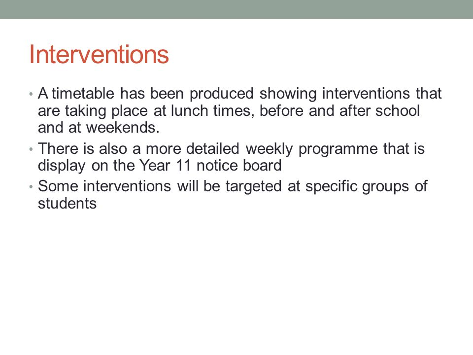 A timetable has been produced showing interventions that are taking place at lunch times, before and after school and at weekends.