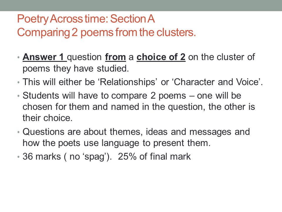 Answer 1 question from a choice of 2 on the cluster of poems they have studied. This will either be 'Relationships' or 'Character and Voice'. Students