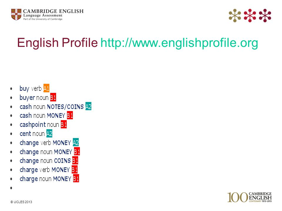 © UCLES 2013 English Profile http://www.englishprofile.org