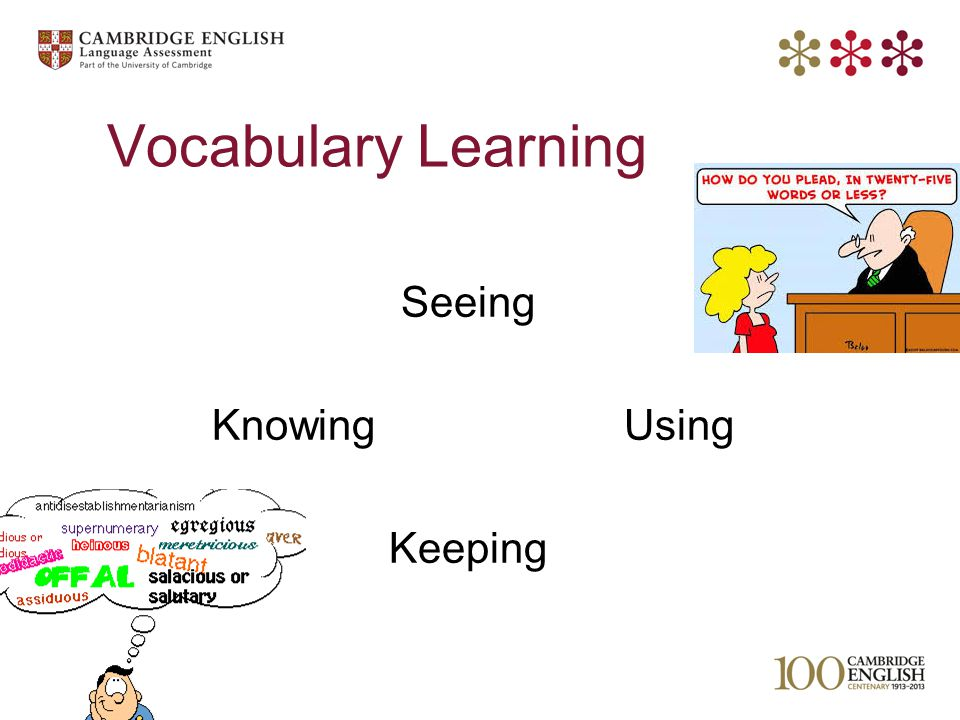 © UCLES 2013 Vocabulary Learning Seeing Knowing Using Keeping