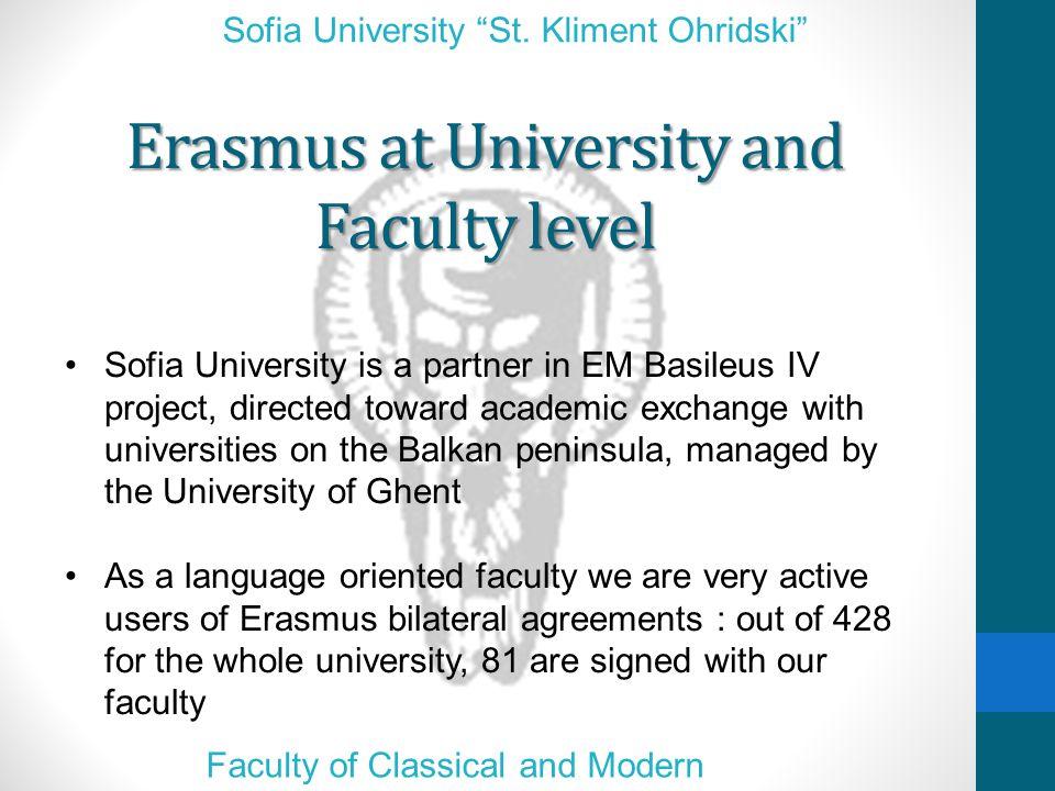 Erasmus at University and Faculty level Sofia University St.