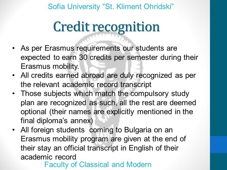 Credit recognition Sofia University St.