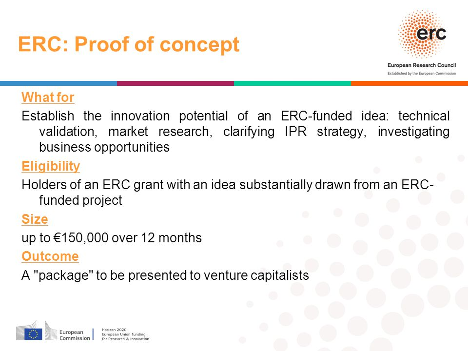 ERC: Proof of concept What for Establish the innovation potential of an ERC-funded idea: technical validation, market research, clarifying IPR strategy, investigating business opportunities Eligibility Holders of an ERC grant with an idea substantially drawn from an ERC- funded project Size up to €150,000 over 12 months Outcome A package to be presented to venture capitalists