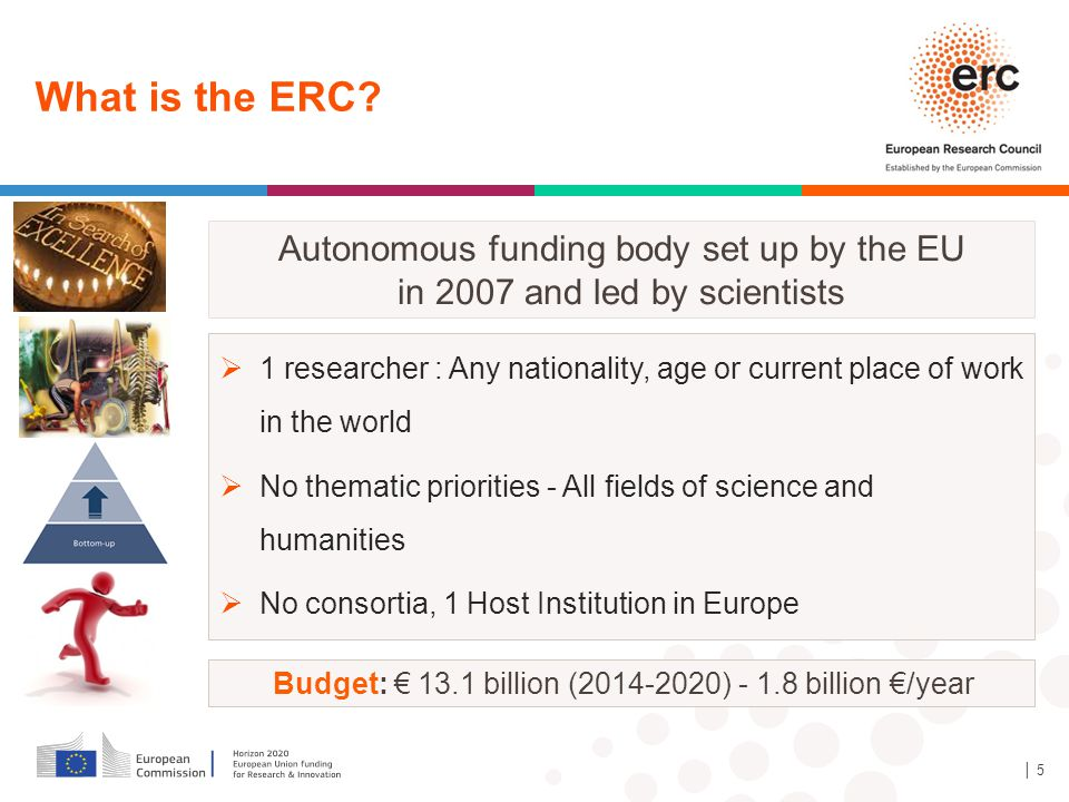 Budget: € 13.1 billion (2014-2020) - 1.8 billion €/year What is the ERC? │ 5  1 researcher : Any nationality, age or current place of work in the wor