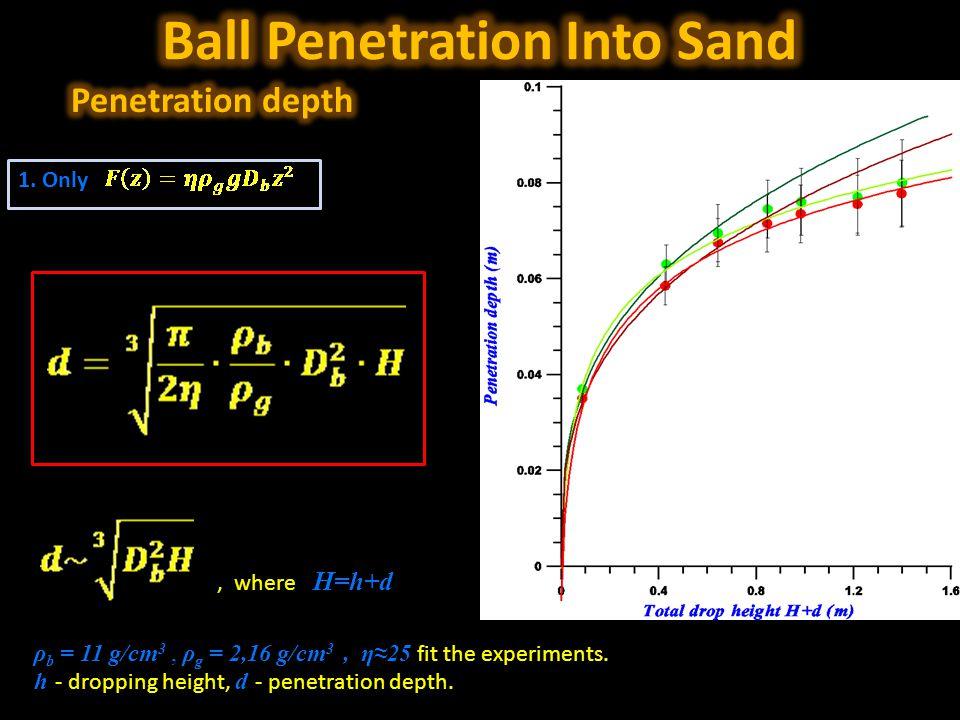 1. Only ρ b = 11 g/cm 3, ρ g = 2,16 g/cm 3, η≈25 fit the experiments.