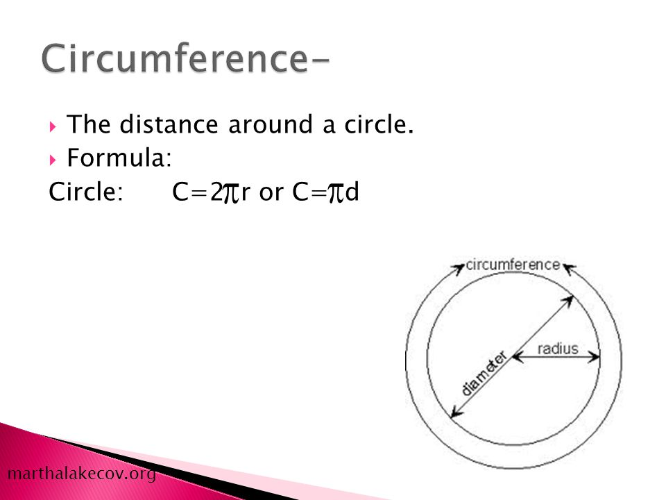  The distance around a circle.  Formula: Circle: C=2 r or C= d marthalakecov.org