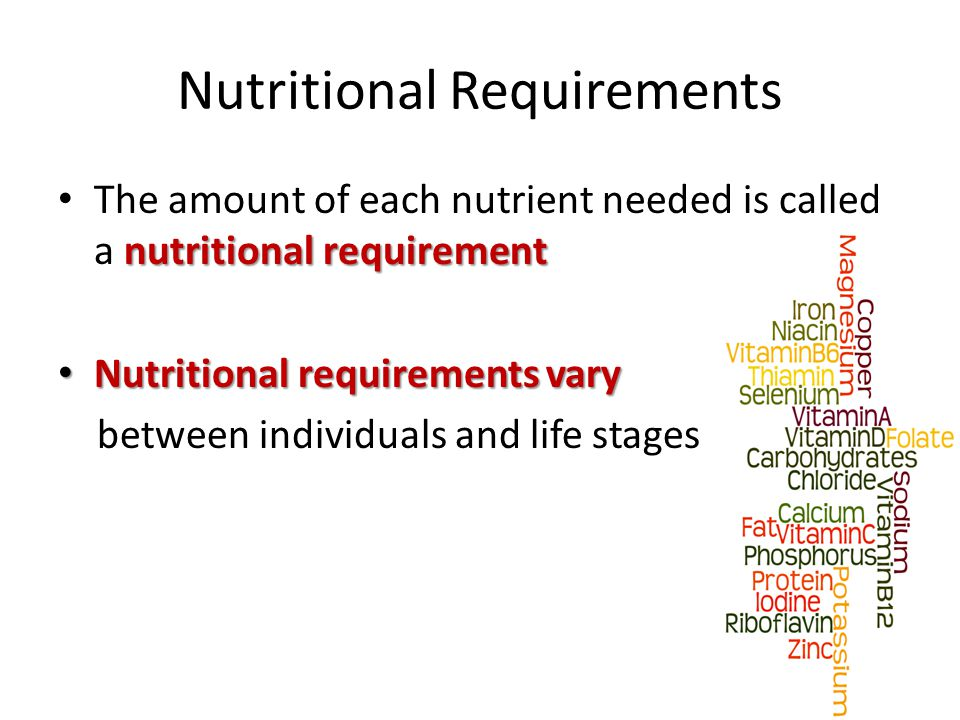 Nutritional Requirements nutritional requirement The amount of each nutrient needed is called a nutritional requirement Nutritional requirements vary