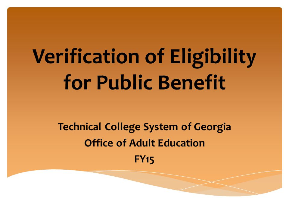 Verification of Eligibility for Public Benefit Technical College System of Georgia Office of Adult Education FY15