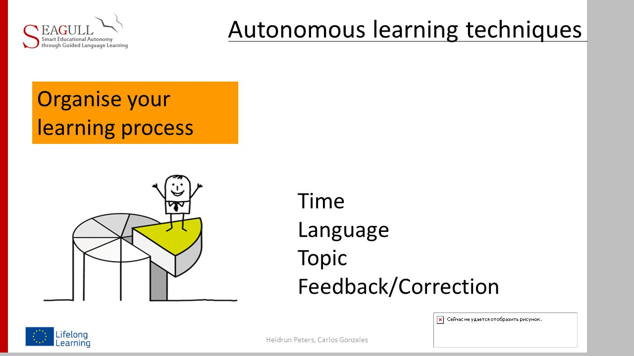 Autonomous learning techniques Heidrun Peters, Carlos Gonzales Time Language Topic Feedback/Correction Organise your learning process