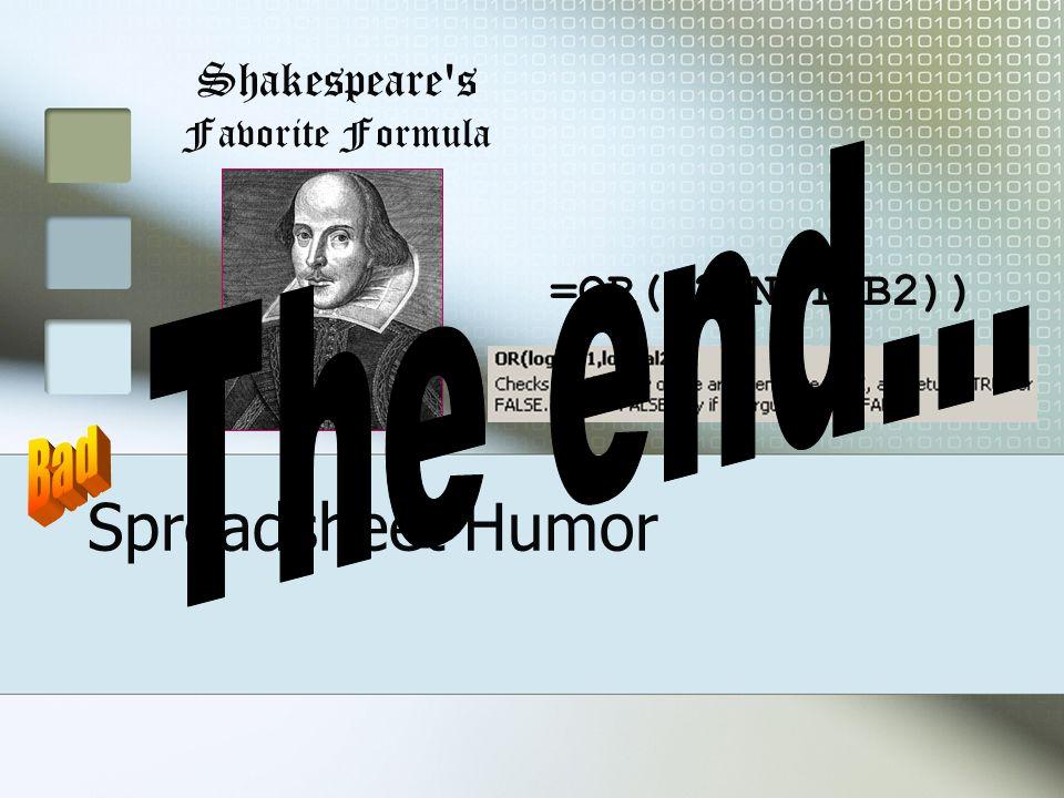 Spreadsheet Humor Shakespeare s Favorite Formula =OR(B2,NOT(B2))