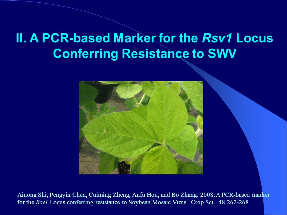 II. A PCR-based Marker for the Rsv1 Locus Conferring Resistance to SWV Ainong Shi, Pengyin Chen, Cuiming Zheng, Anfu Hou, and Bo Zhang. 2008. A PCR-ba