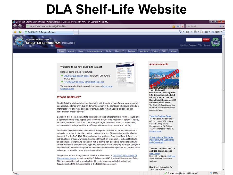 DLA Shelf-Life Website