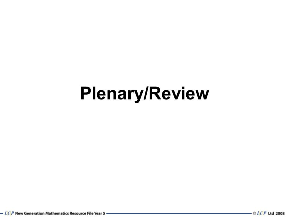 Plenary/Review