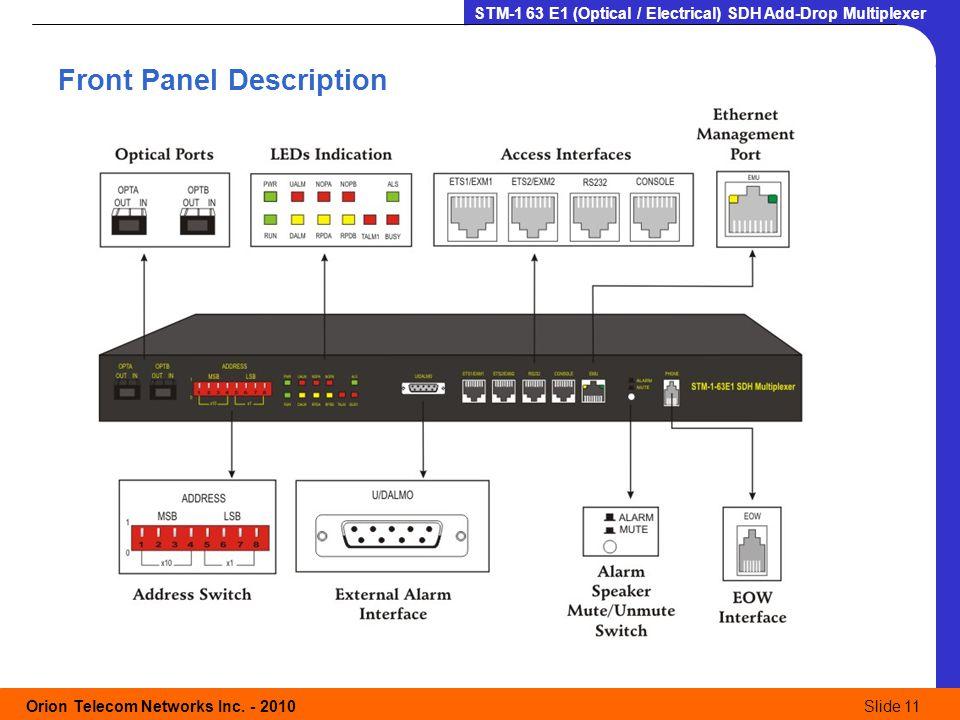 Orion Telecom Networks Inc. - 2010Slide 11 STM-1 63 E1 (Optical / Electrical) SDH Add-Drop Multiplexer Front Panel Description