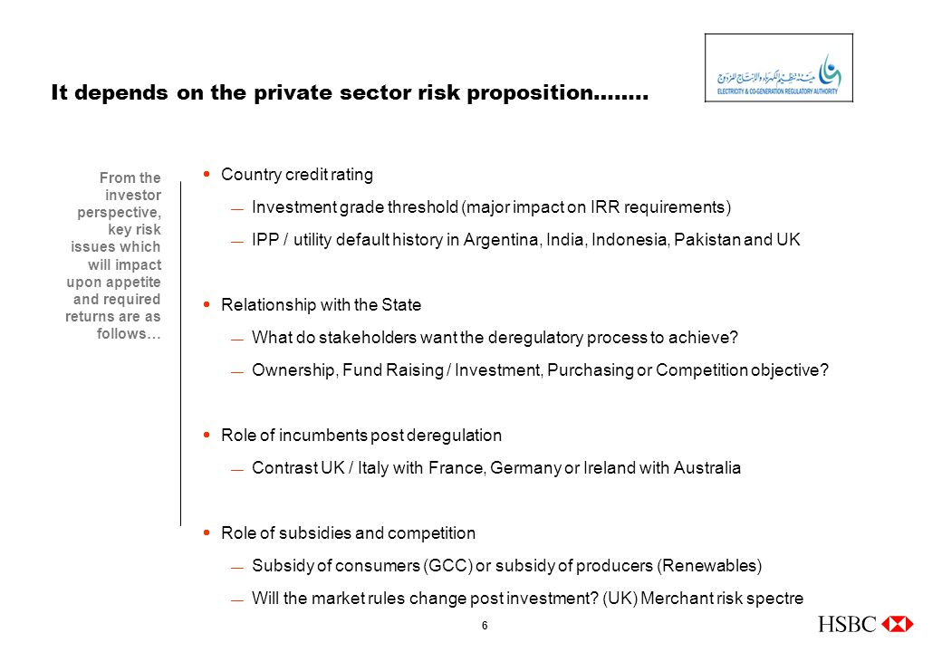 6 It depends on the private sector risk proposition……..