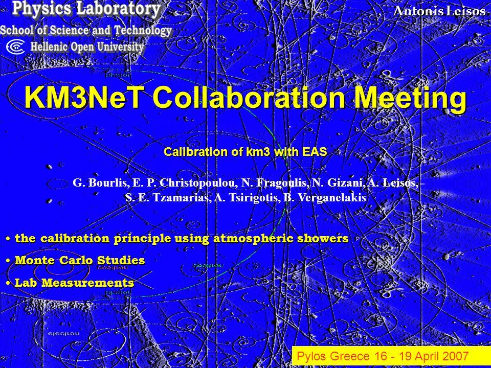 Antonis Leisos KM3NeT Collaboration Meeting the calibration principle using atmospheric showers the calibration principle using atmospheric showers Mo