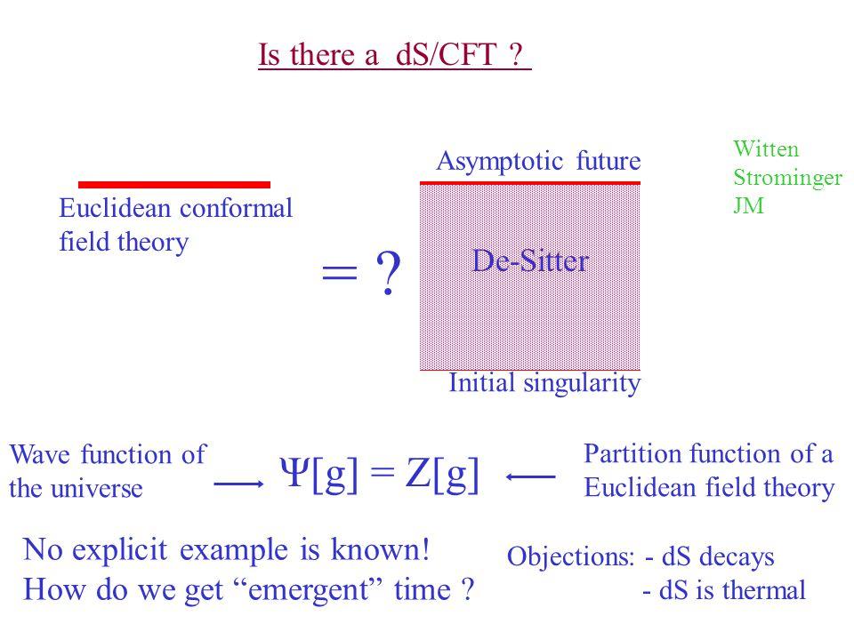 Initial singularity Asymptotic future De-Sitter Euclidean conformal field theory = .