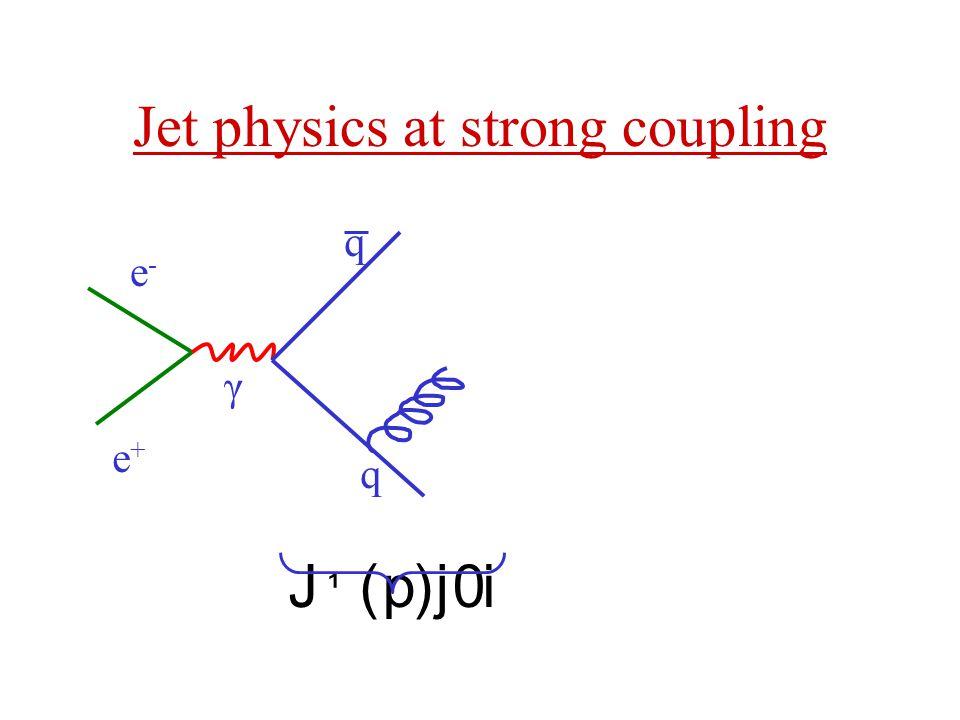 Jet physics at strong coupling e+e+ e-e- γ q q J ¹ ( p )j 0 i