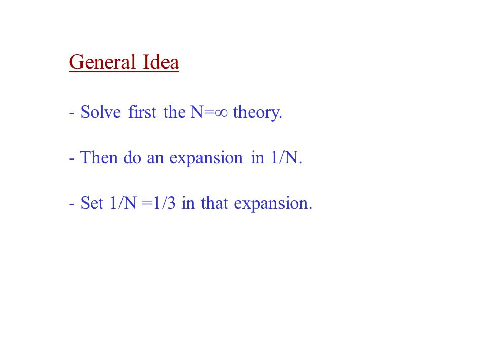 General Idea - Solve first the N=∞ theory.- Then do an expansion in 1/N.