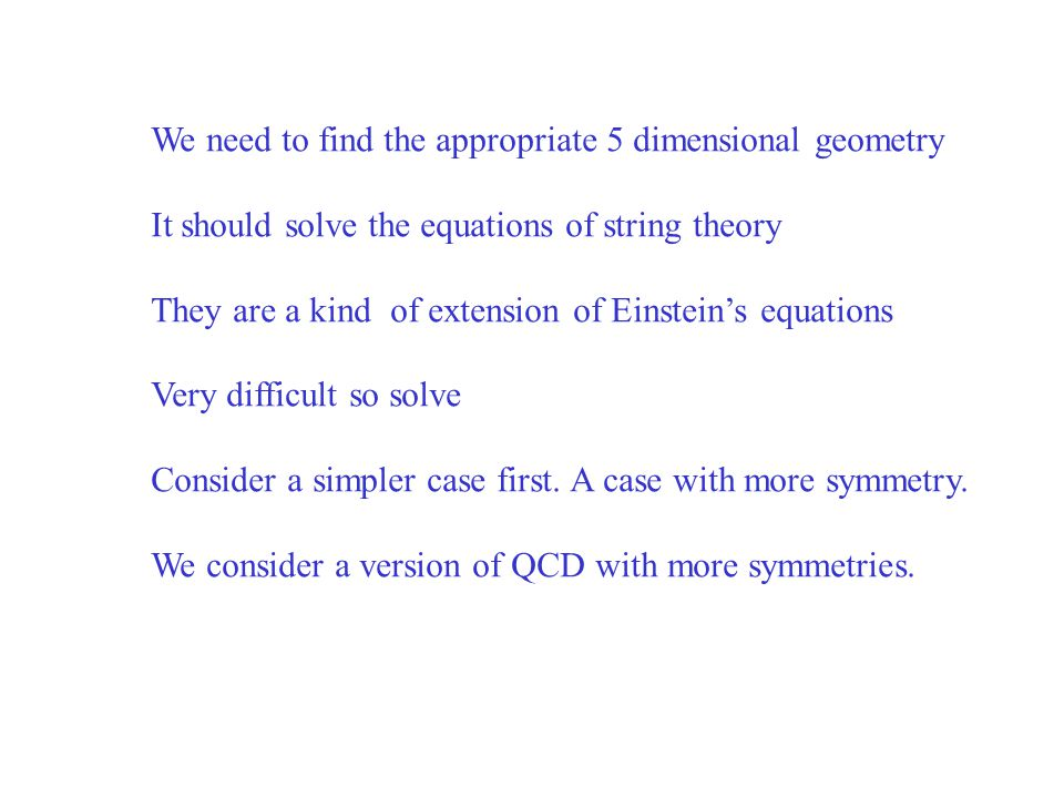 We need to find the appropriate 5 dimensional geometry It should solve the equations of string theory They are a kind of extension of Einstein's equations Very difficult so solve Consider a simpler case first.