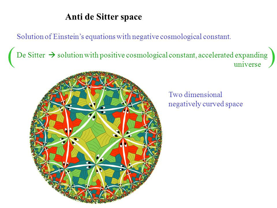 Anti de Sitter space Solution of Einstein's equations with negative cosmological constant.
