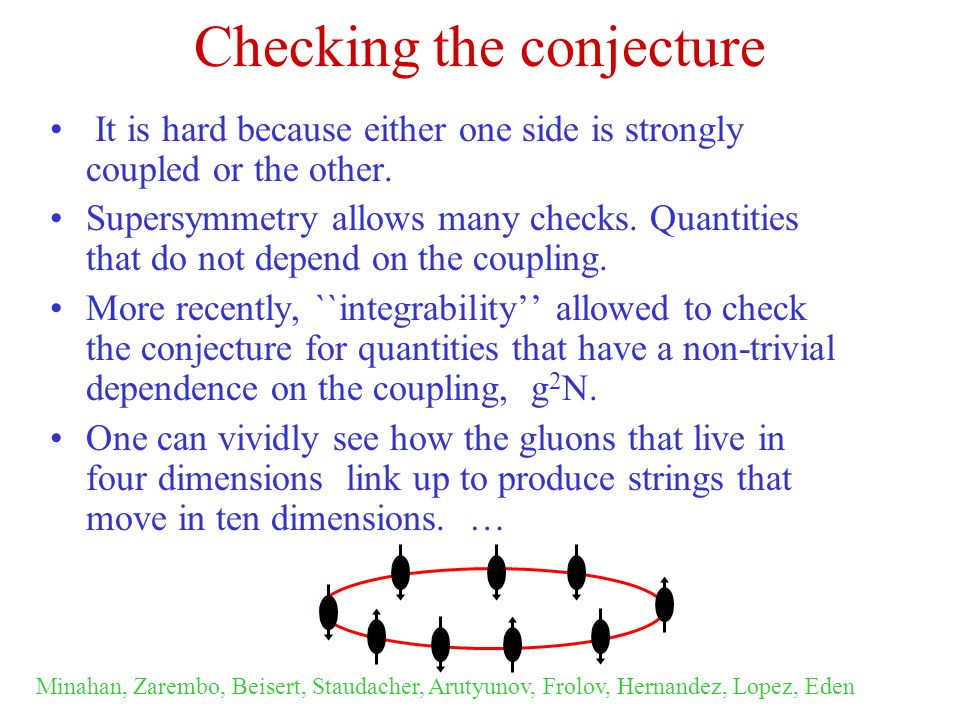 Checking the conjecture It is hard because either one side is strongly coupled or the other.