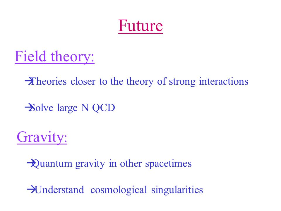 Future Field theory: Gravity :  Theories closer to the theory of strong interactions  Solve large N QCD  Quantum gravity in other spacetimes  Understand cosmological singularities