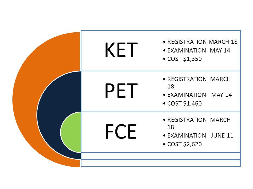 KET PET FCE REGISTRATION MARCH 18 EXAMINATION MAY 14 COST $1,350 REGISTRATION MARCH 18 EXAMINATION MAY 14 COST $1,460 REGISTRATION MARCH 18 EXAMINATIO