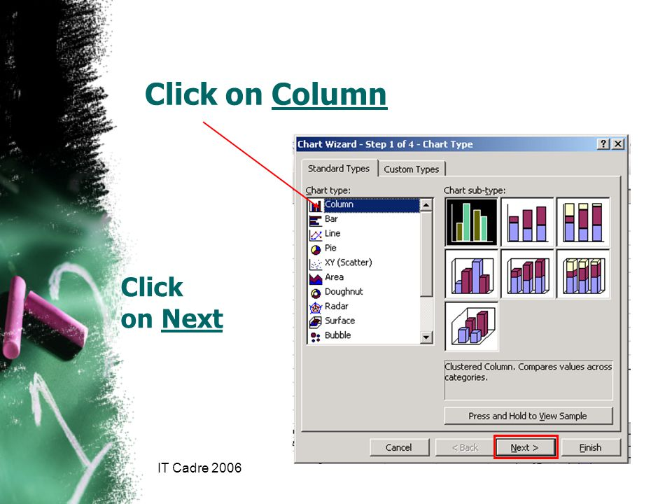 IT Cadre 2006 Click on Next Click on Column