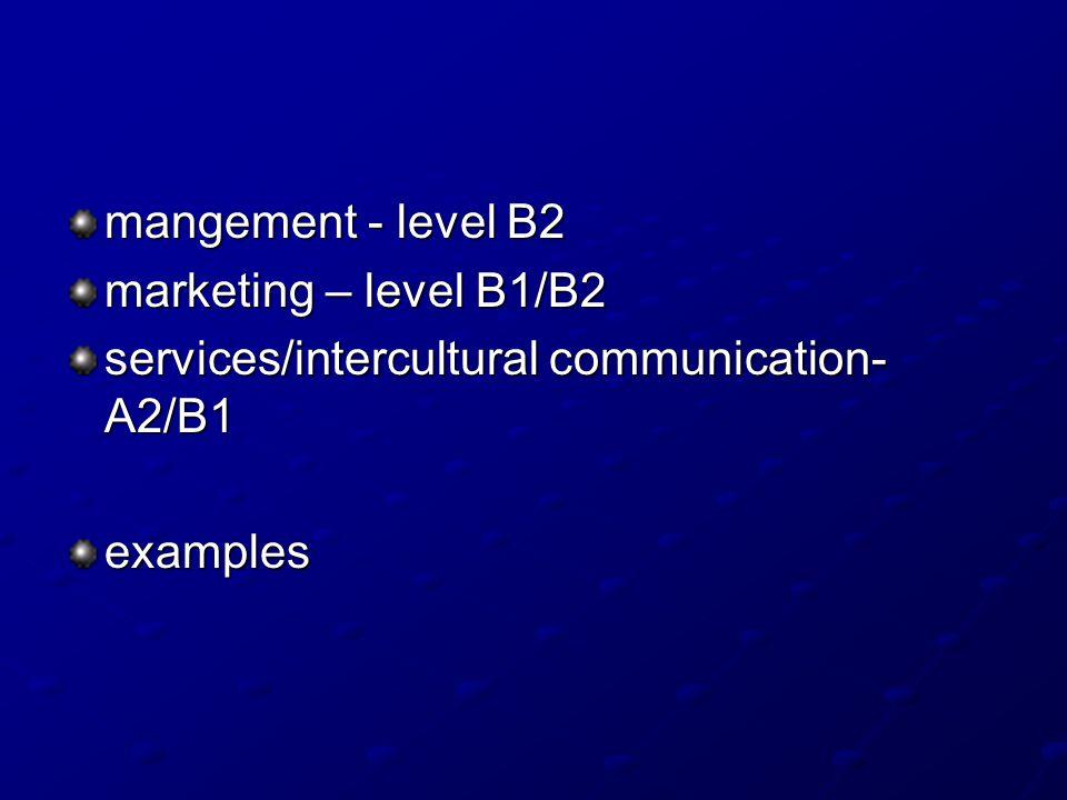 mangement - level B2 marketing – level B1/B2 services/intercultural communication- A2/B1 examples