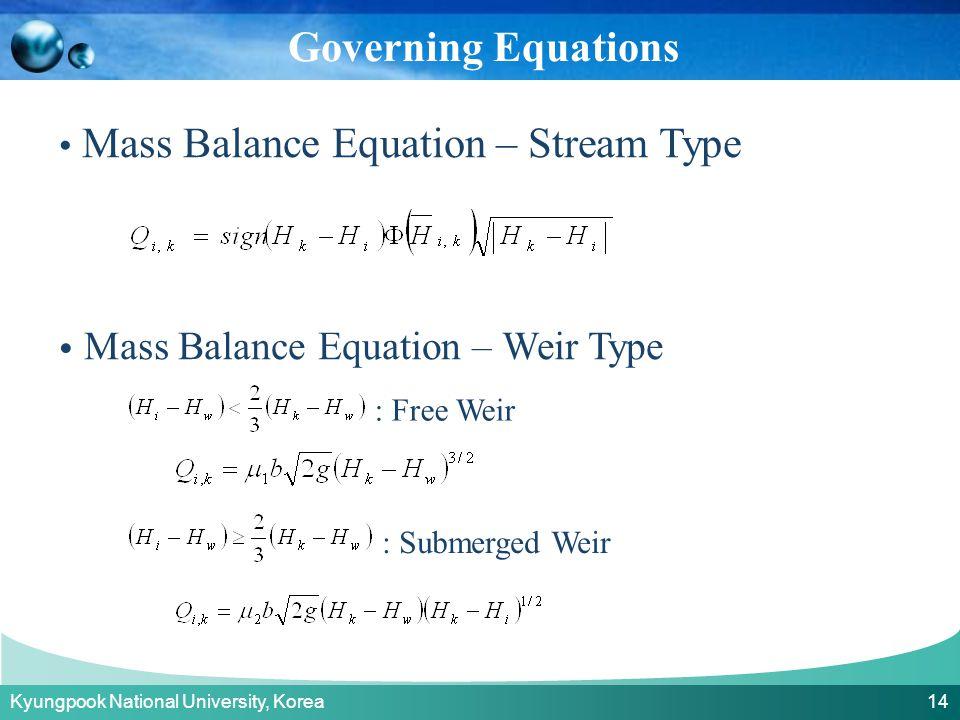 Kyungpook National University, Korea 14 Mass Balance Equation – Stream Type Mass Balance Equation – Weir Type : Free Weir : Submerged Weir Governing Equations