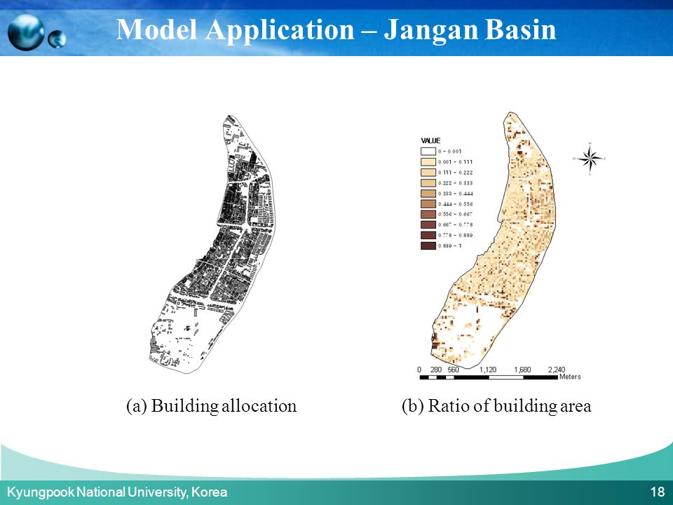 Kyungpook National University, Korea 18 (a) Building allocation(b) Ratio of building area Model Application – Jangan Basin