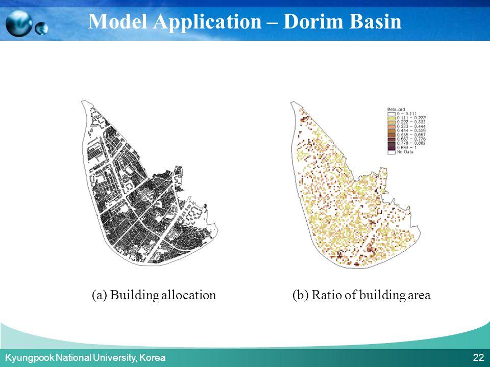 Kyungpook National University, Korea 22 (a) Building allocation(b) Ratio of building area Model Application – Dorim Basin