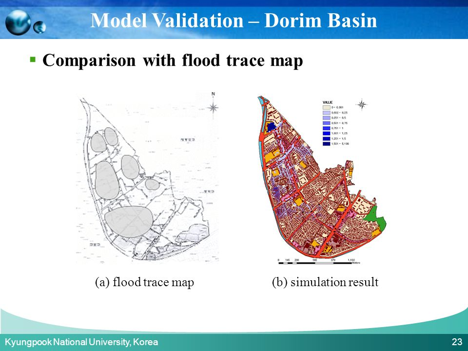 Kyungpook National University, Korea 23  Comparison with flood trace map Model Validation – Dorim Basin (a) flood trace map(b) simulation result