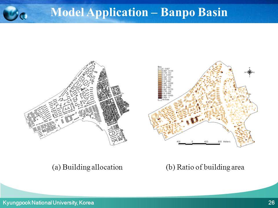 Kyungpook National University, Korea 26 (a) Building allocation(b) Ratio of building area Model Application – Banpo Basin
