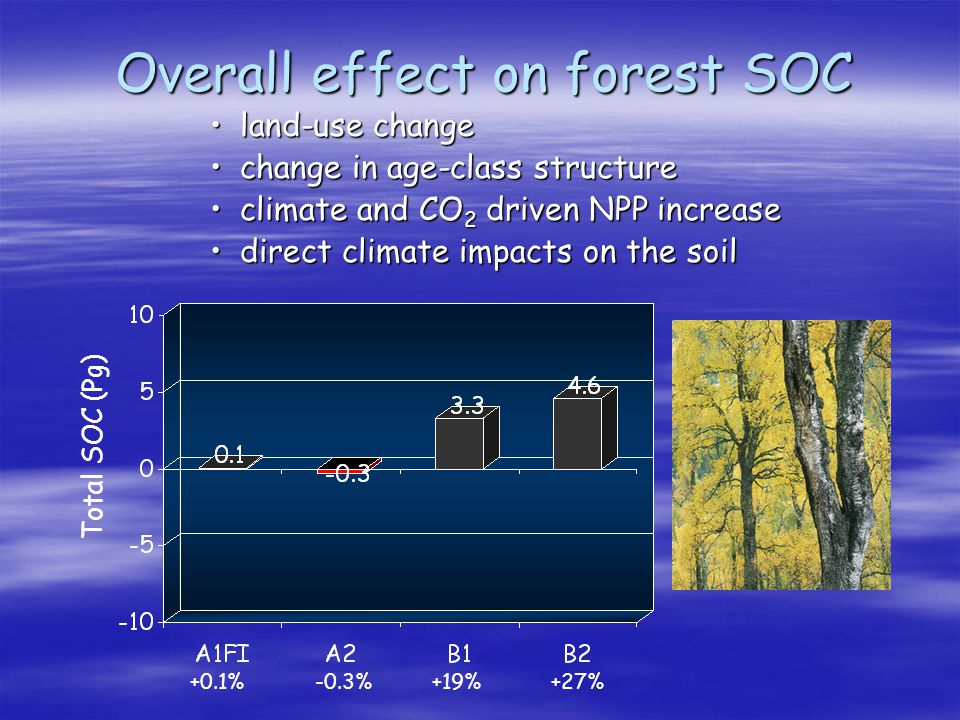Overall effect on forest SOC land-use changeland-use change change in age-class structurechange in age-class structure climate and CO 2 driven NPP inc