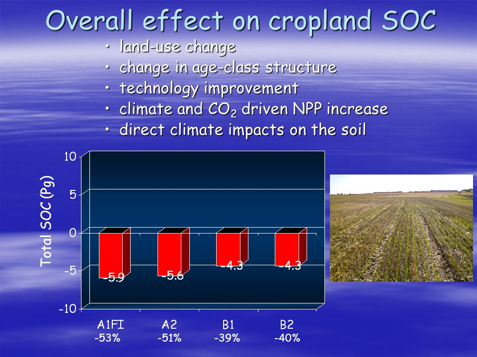 Overall effect on cropland SOC -53% -51% -40% -39% Total SOC (Pg) land-use changeland-use change change in age-class structurechange in age-class stru