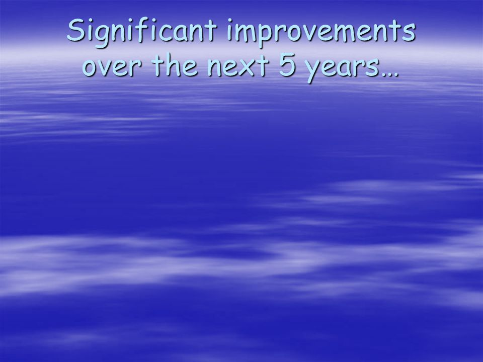 Significant improvements over the next 5 years…