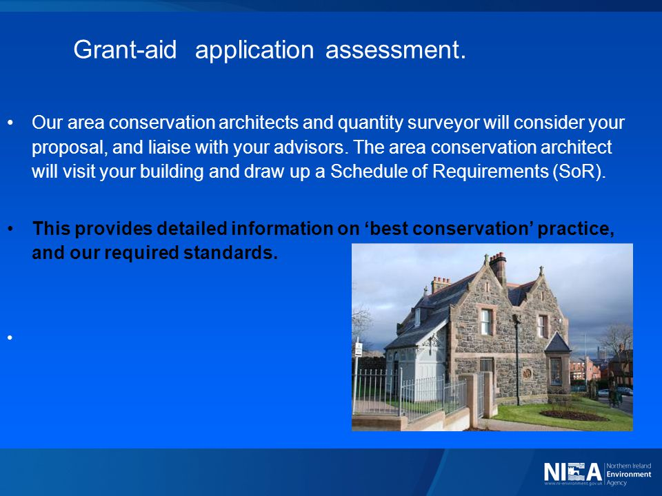 Grant-aid application assessment.