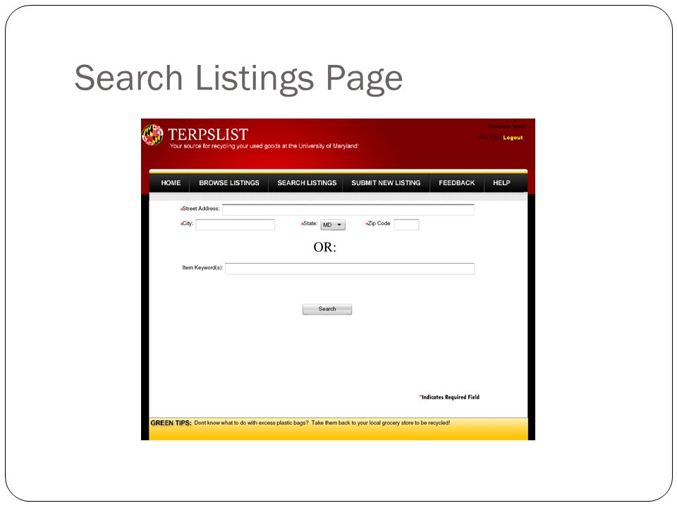 Search Listings Page