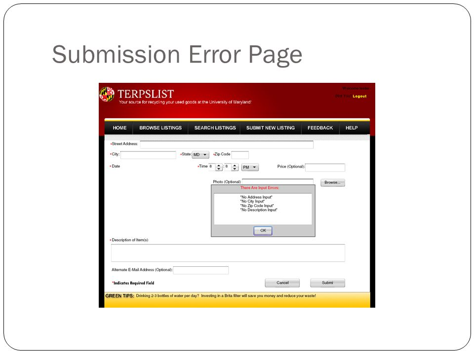 Submission Error Page