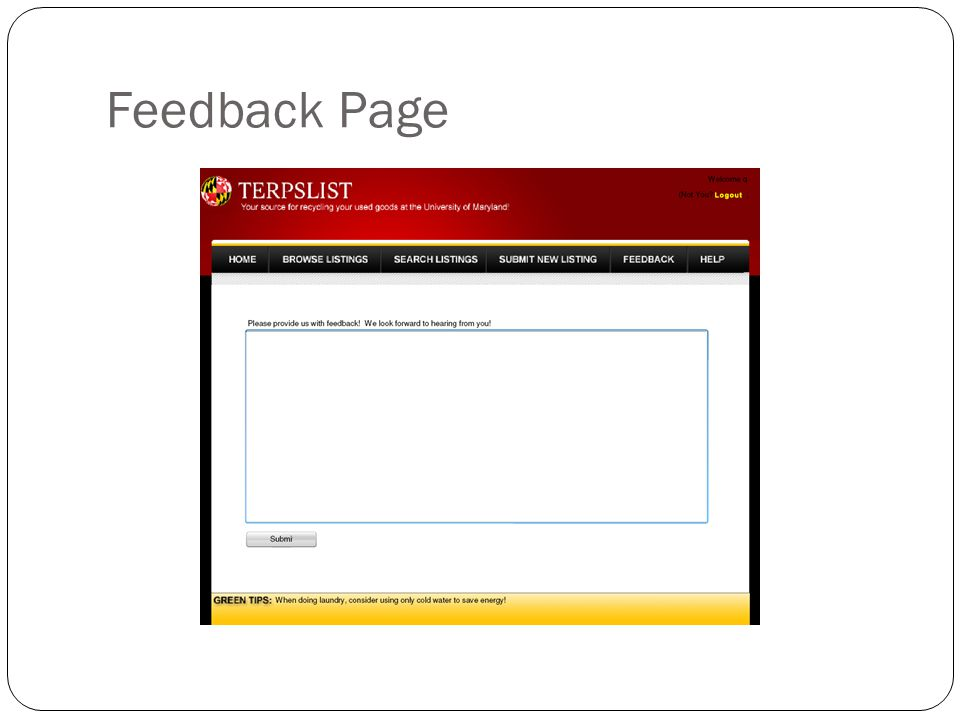 Feedback Page