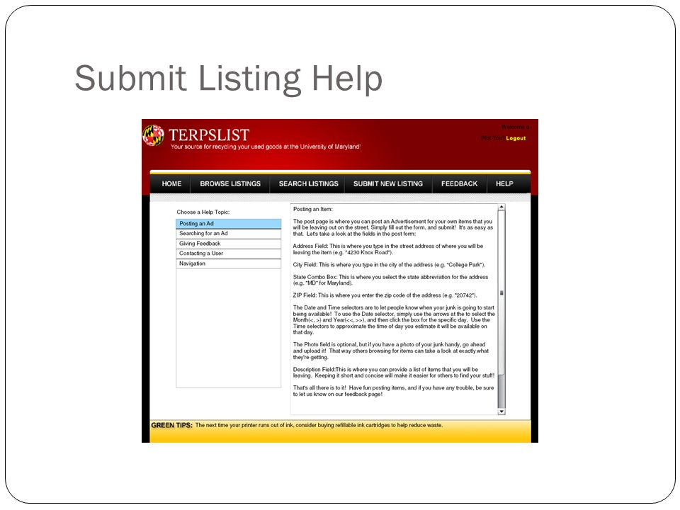 Submit Listing Help